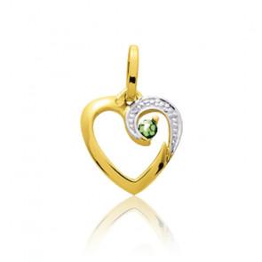Pendentif coeur arabesque émeraude, Or jaune 9 ou 18K - Emanessence