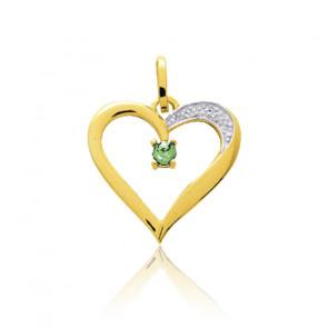 Pendentif coeur voluptueux émeraude, Or jaune 18K - Emanessence