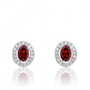 Boucles d'oreilles Grenat & Diamants, Or Blanc 18K - Rosatella