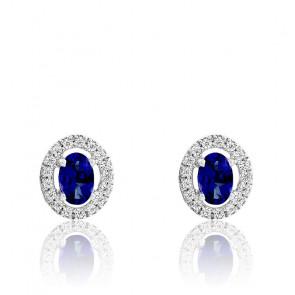 Boucles d'oreilles, Saphir Or Blanc 18K & Diamants - Aurora