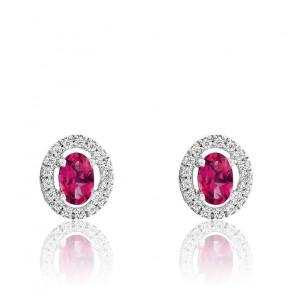 Boucles d'oreilles Rubis Or Blanc 18K et Diamants - Rosatella