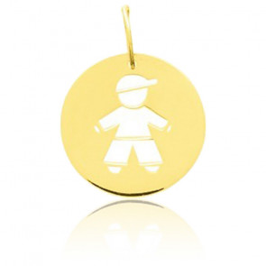 Médaille petit garçon ajourée, Or jaune 18K - Emanessence