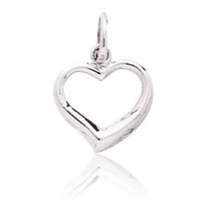 Pendentif mini coeur ajouré, Or blanc 9 ou 18K - Emanessence