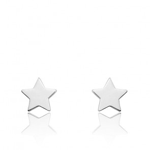 Puces d'oreilles Etoile, Or blanc 9 ou 18K - Emanessence