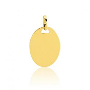 Plaque ovale à graver, Or jaune 9 ou 18K - Emanessence