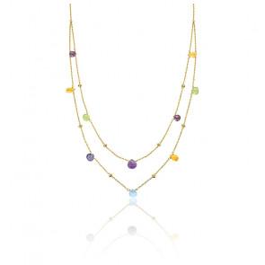Double collier femme pierres de couleurs, Or jaune 9K - Emanessence