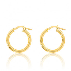 Boucles d'oreilles Créoles fil rond 2,50 mm, 10 mm Or jaune 18K - Emanessence