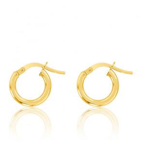 Boucles d'oreilles Créoles fil rond 2 mm, 8 mm, Or Jaune 18K - Emanessence