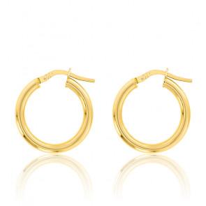 Boucles d'oreilles Créoles fil rond 2 mm, 15 mm Or jaune 18K - Emanessence