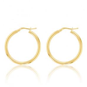 Boucles d'oreilles Créoles fil rond 2 mm, 20 mm Or jaune 18K - Emanessence