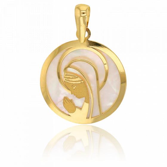 Médaille vierge en prière ajourée, Or jaune 18K et nacre - Rosatella