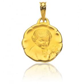 Médaille ange aux fleurs, Or jaune 18K - Rosatella