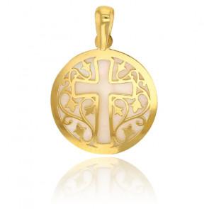 Médaille croix feuillage, Or jaune 18K et nacre - Rosatella