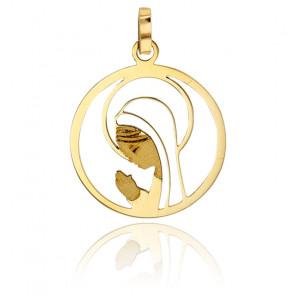 Médaille vierge en prière ajourée, Or jaune 18K - Rosatella