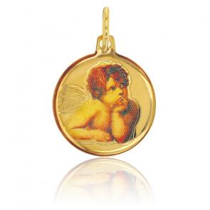 Médaille Ange Raphael, Or jaune 9K et résine colorée - Rosatella
