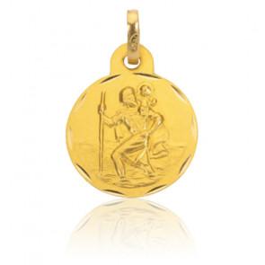 Médaille Saint Christophe bords stylisés, Or jaune 9 ou 18K - Rosatella