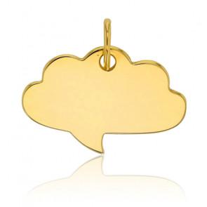 Plaque à graver nuage, Or jaune 9K - Rosatella