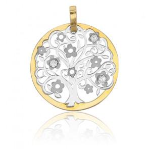 Médaille Arbre de Vie bicolore, 2 Ors 9K et zyrcons - Rosatella