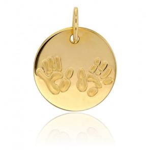 Médaille de naissance mains et petons, Or jaune 9K - Rosatella