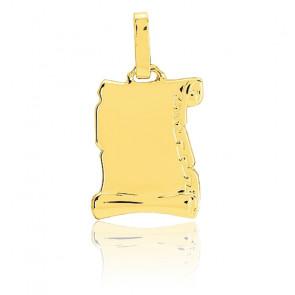 Pendentif grand parchemin stylisé , Or jaune 18K - Emanessence