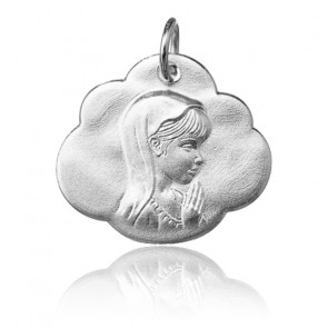 Pendentif Nuage jeune Vierge Marie, Or blanc 9 ou 18K