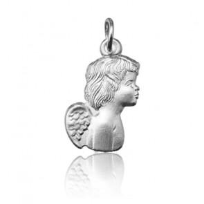 Pendentif jeune ange de profil, Or blanc 9 ou 18K - Argyor