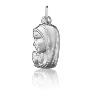 Pendentif Vierge Marie en prière, Or blanc 9 ou 18K - Argyor