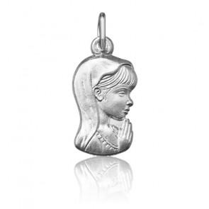 Pendentif jeune Vierge Marie de profil, Or blanc 9 ou 18K - Argyor
