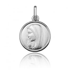Médaille Vierge en prière, Or blanc 9 ou 18K - Argyor