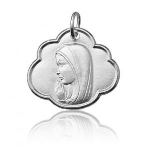 Médaille Vierge Marie dans les nuages, Or blanc 9 ou 18K - Argyor