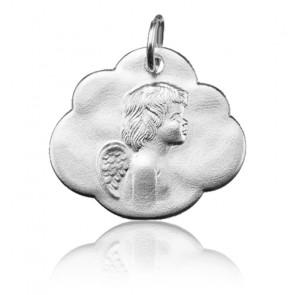 Pendentif nuage ange de profil, Or blanc 9 ou 18K - Argyor