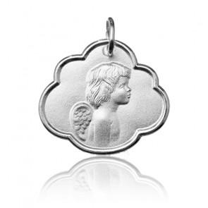 Médaille nuage ange de profil, Or blanc 9 ou 18K - Argyor