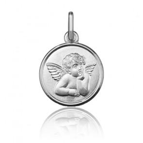 Médaille ronde Ange pensif, Or blanc 9 ou 18K - Argyor