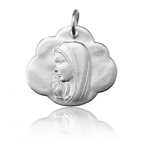 Pendentif Vierge Marie dans les nuages, Or blanc 9 ou 18K - Argyor