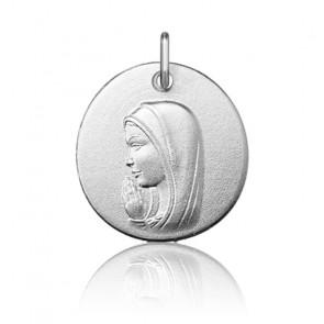 Pendentif rond Vierge Marie en prière, Or blanc 9 ou 18K - Argyor