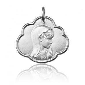 Médaille jeune Vierge Marie de profil, Or blanc 9 ou 18K - Argyor