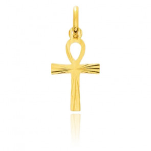 Croix de Vie striée, Or jaune 18 carats - Emanessence