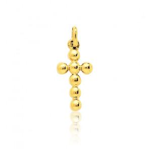 Pendentif croix perlée, Or jaune 18 carats - Emanessence
