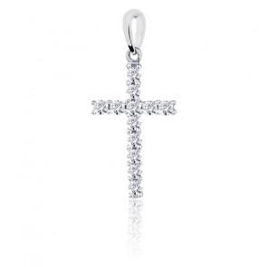 Croix diamantée, Or blanc 18K et diamants - Emanessence