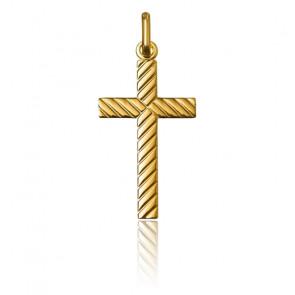 Croix Rectangulaire Striée, Or Jaune 9 ou 18K - Argyor
