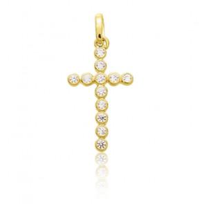 Croix stylisée, Or jaune 18 carats et Zircones - Emanessence