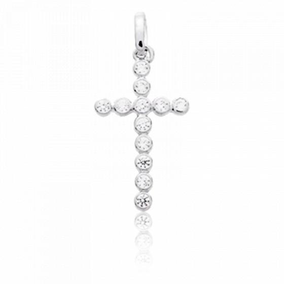 Croix stylisée, Or blanc 18 carats et Zircones - Emanessence