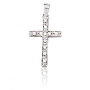 Croix fil carré, Or blanc 18 carats et diamants - Emanessence