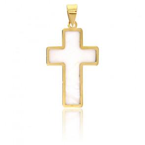 Pendentif croix, Or jaune 18K et nacre - Rosatella