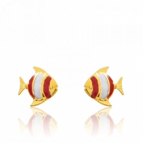 Boucles d'oreilles Poisson, Or jaune 9 ou 18K - Emanessence