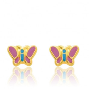 Puces d'oreilles Papillons, Or jaune 9 ou 18K - Emanessence