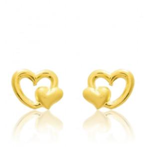 Boucles d'oreilles Coeurs, Or jaune 9 ou 18K - Emanessence