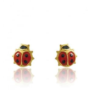 Boucles d'oreilles Coccinelle, Or jaune 9 ou 18 carats - Emanessence