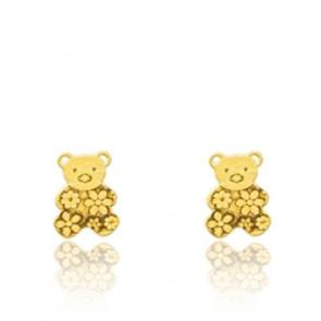 Boucles d'oreilles Ourson fleuri, Or jaune 18K - Emanessence