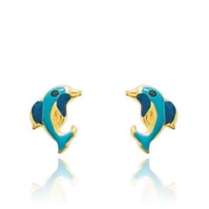 Boucles d'oreilles Dauphin, Or jaune 9 ou 18K et laquage bleu - Emanessence